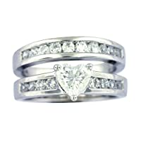 Platinum Overlay Sterling Silver Cubic Zirconia Heart Shaped and Round Bridal Ring Set