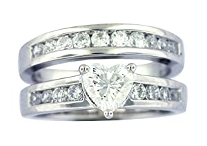 Platinum Plated Sterling Silver Cubic Zirconia Heart-Shaped and Round Bridal Ring Set, Size 8