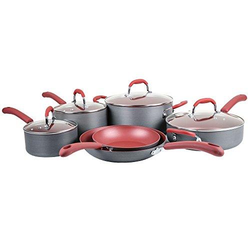Bella 10-Piece Hard Anodized Cookware, Red (Bella Ceramic Cookware Set compare prices)
