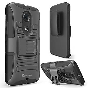 Moto X Case, i-Blason Google Motorola Moto X 2nd Gen Case Prime Series Dual Layer Holster Case with Kickstand and Locking Belt Swivel Clip for Moto X 2nd Generation Case for Moto X 2 (Black)