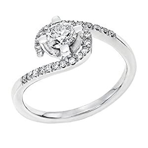IGI Certified 14k white-gold Round Cut Diamond Engagement Ring (0.43 cttw, F Color, SI3 Clarity) - size 4.5