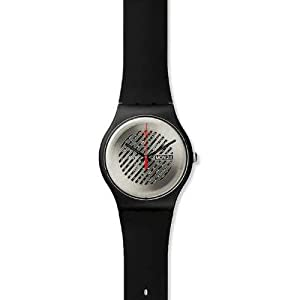 Swatch On The Grill Silver Dial Black Rubber Unisex Watch SUOB713