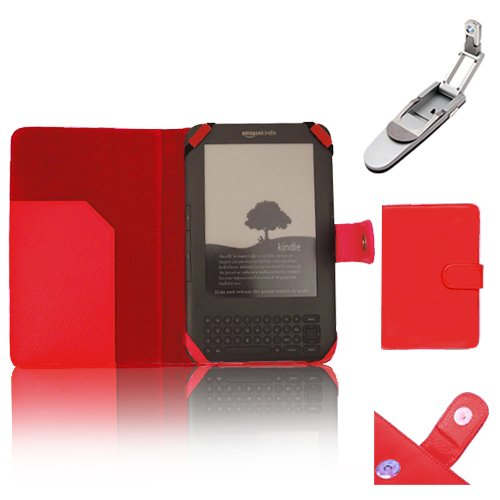 """Xtra-Funky Exclusive Pu Leather Book Wallet Folio Style Case For Amazon Kindle 3 (Black 6"""" E-Ink Display Keyboard Model) With Clip On Robotic Folding Light - Red"""