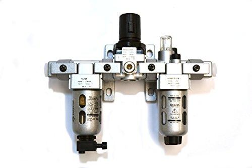 "Groz 60550 Air Filter - Regulator - Lubricator, Modular 3 Piece, Polycarbonate Bowl, Miniature-1/4"" NPT , 18 CFM"