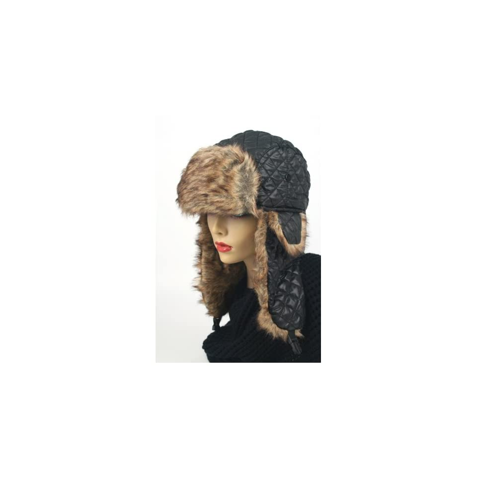 Womens Trapper Quilted Winter Ear Flap Hat 901HT (Black)