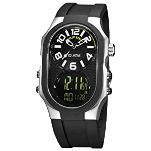 Philip Stein Men's 3RB-AD-RB Signature Black Plated Chronograph Black Rubber Strap Watch by Philip Stein