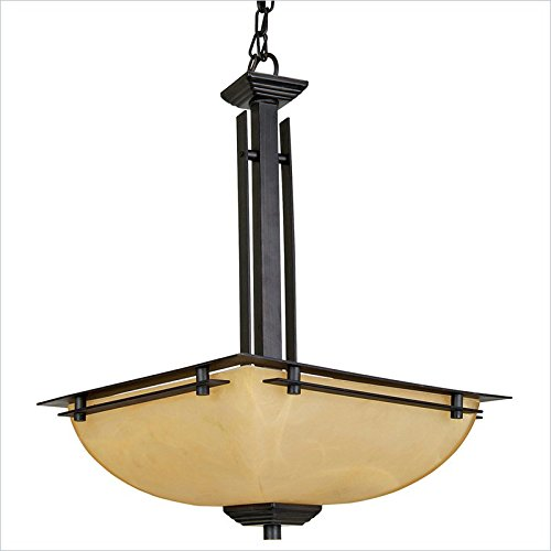 Yosemite Home Decor 95551-2Vb Half Dome Pendant With Parchment Frosted Shade, 2-Light, Venetian Bronze