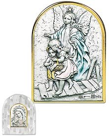 Guardian Angel Crossing Bridge Mother of Pearl. Salerni of Italy's Genuine Sterling Silver Images Are Cast in a Beautiful Setting of Swarovski® Crystals, Mother of Pearl, or Enamel Tabletop Frames. Sterling/ Genuine Mother of Pearl -- 3.5