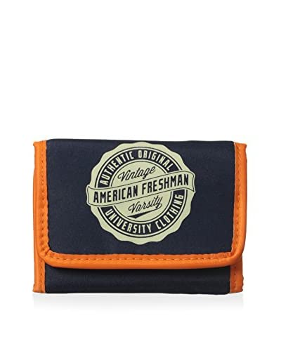 American Freshman Men's Oakland Trifold Wallet, Navy/Orange