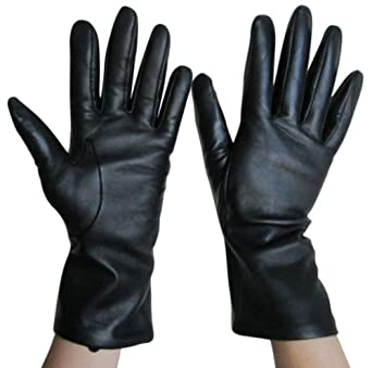 Fownes Women's Cashmere Lined Black Lambskin Leather Gloves 6/XS