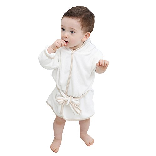 Natural White Bath Robe Baby Boy and Girl 100% Certified Organic Cotton (24m)