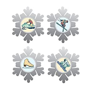 Karen Foster Design, Thin Metal Scrapbooking Icon Brads, Winter Sports