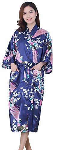 Kimono Robes Peacock Blossoms Silk Satin Long Nightgown Sleepwear, Dark Blue XXL