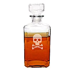 Cathys Concepts Skull and Crossbones Spirits Decanter, Clear