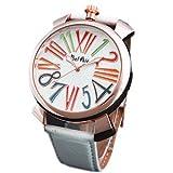 ・メンズ レディース腕時計 アナログ トップリューズ式ビッグフェイス腕時計 ホワイト/ホワイト