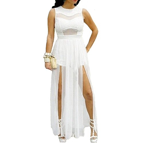 - Plus Size Double Slits Lace Mesh Jumpsuit Maxi Dress White (3