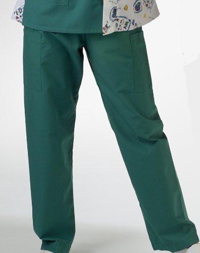 Medline AngelStat Cargo Pocket Scrub Pants - Hunter Green, Size Small; Length Long - Model 674NHGSL