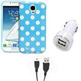Fosmon 3 in 1 Bundle for Samsung Galaxy S4 IV / I9500 - 1x Fosmon DURA Series SLIM-Fit Case Polka Dot Skin Cover (Blue) - 1x Fosmon 2.1amps / 10w Dual Port USB Rapid Car Charger - 1x Fosmon Micro USB Data Charging Cable