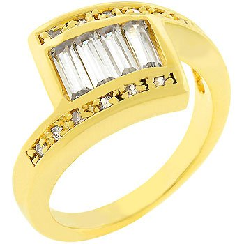 Contemporary Journey Style Channel Set Baguette 14k Gold Plate Cubic Zirconia CZ Anniversary Ring (Size 5,6,7,8,9,10)