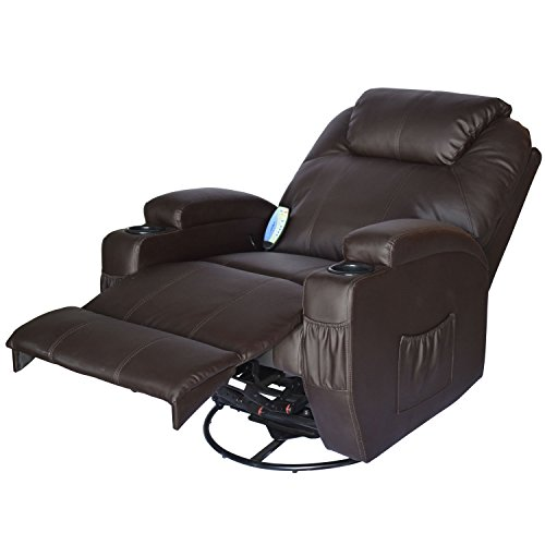 ... HomCom Deluxe Heated Vibrating PU Leather Massage Recliner Chair    Brown ...