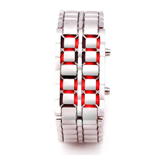 Silver Metal Band Iron Lava Samurai Style Wrist Watch Faceless Japanese Inspired Red Led