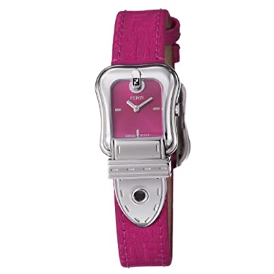 Fendi B. Fendi Ladies Ruby Fabric Leather Strap Buckle Shaped Watch F370277F from Fendi
