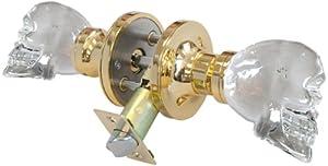 Krystal Touch of New York 3733BPR Skull Privacy Doorknob, 2.5-Inch, Brass