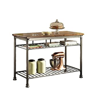 Simple Kitchen Islands u Carts Home Styles Orleans Wire Rack Kitchen Island with Caramel Butcher Block