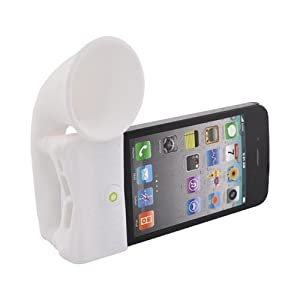 WHITE Bone Speaker Horn Stand for Verizon AT&T Iphone 4