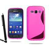 Samsung Galaxy Ace 3 S7272 Grip Wave S Line Silicone Case Cover + Screen Protector + Stylus (Pink)