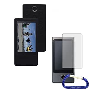 Gizmo Dorks Silicone Case Cover (Black) and Screen Protector with Carabiner Key Chain for the Sony Bloggie Touch Camera