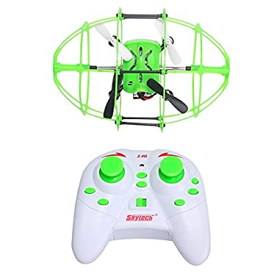 YYGIFT® 2.4GHz 6-Axis Gyro 3D Flight Climbing Wall Roller RC Quadcopter Drone UFO with LED Lights and Green Rugby Ball Design Protective Cover,Nice Gift for Both Kids and Adults