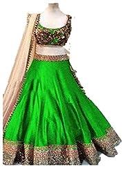 Sweety Plus Women's Bhagalpuri Silk Lehenga Choli (Mira_0026_Green_Free Size)