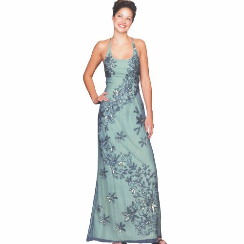 Womens Long Evening Gown. Steel Lime Prom Dress. Formal Dress by Sean Collection (1830 S)