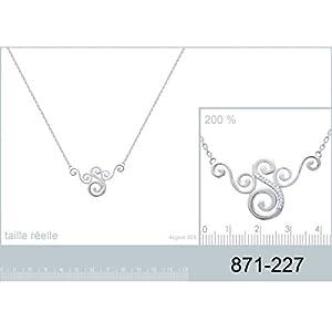 Collier en Argent 925/000 et Oxyde de Zirconium - Chaîne avec Pendentif Fixe : Arabesque avec Strass, Brillants Blanc - Bijoux Femme