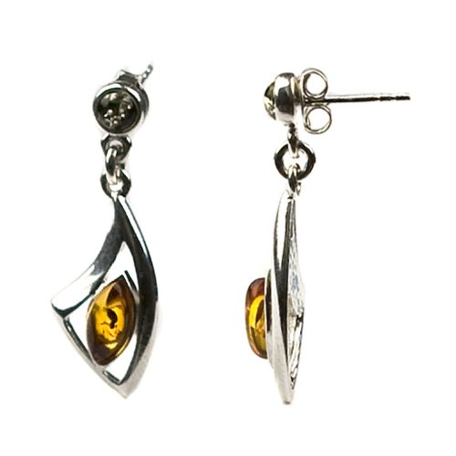 Sterling Silver Multi-color Amber Medium Earrings