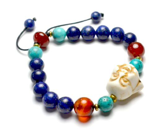 Live in Joy Cute Happy Buddha Lapis Lazuli Amulet Bracelet, Decorative Red Carnelian Beads and Copper, 6-10 Inches Stretchable – Fortune Jade Jewelry