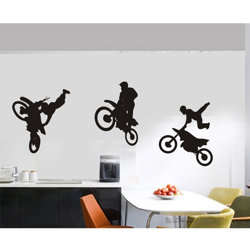 Olivia Motocross Trick Wall Stickers Decals Decor Art DIY Vinyl Motorcross Graphic Extreme Sport Silhouette Removable Wall Mural for Boys Girls Kids Bedroom Baby Nursery Living Room Home Decorations
