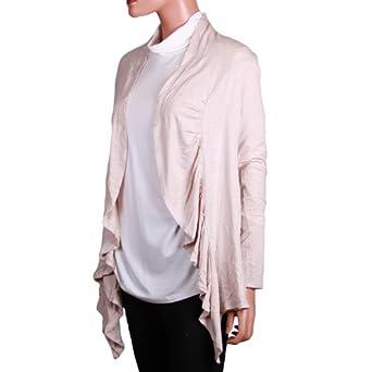 Grace Elements Womens Ruffle Buttonless Cardigan Sweater (Small, Oatmeal)