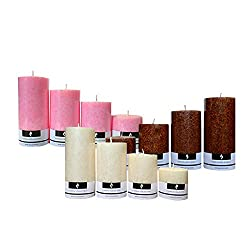 Scented Pillar Candles Set Combo| Each Pack Consists of 4 Different Size Candles | 3 Different Fragrances | Coffee(Brown), Jasmine(White), Lotus(Pink) | By Yesno.in