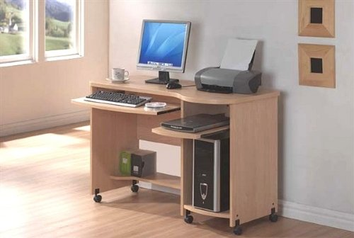 Buy Low Price Comfortable Shelly Maple Finish Home Office Computer Desk with Castors (B001LV4Z4Y)