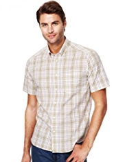 Pure Cotton Easy Care Grid Checked Shirt