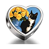 925 Sterling Silver Charms Beads Cat With Flowers Heart Photo Charm Beads Fit Pandora Chamilia Biagi beads Charms Bracelet