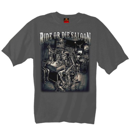 Hot Leathers Ride or Die Saloon T-Shirt (Charcoal, XX-Large)