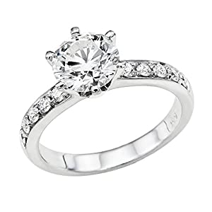 GIA Certified 14k white-gold Round Cut Diamond Engagement Ring (1.79 cttw, I Color, VS1 Clarity)