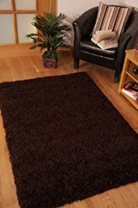 Chocolate Brown Shaggy, Non Shedding rug. 200x290cm. UK MAINLAND POSTAGE ONLY by Modern Style Rugs