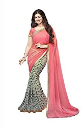 Universal Creation fancy pink and cream saree