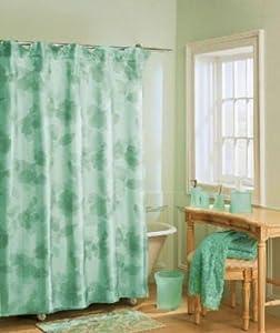 Primavera Light Green Sheer Floral Fabric Shower Curtain Nine Company Nine West