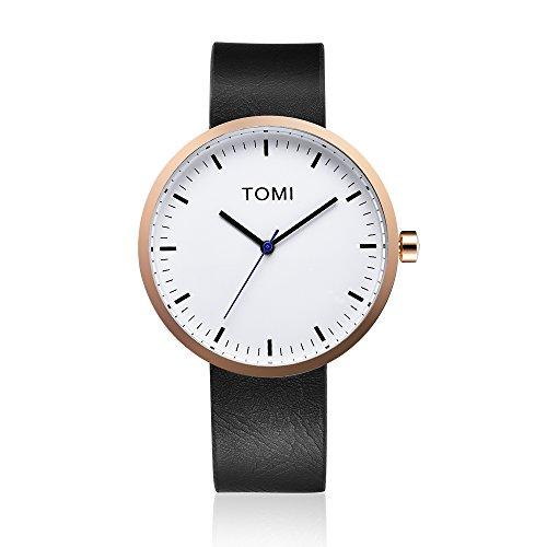 Tomi Watch 003 Quarzo Analogico Acciaio Inossidabile IP Oro Rosa Bianco Pelle Nero Unisex Orologio Design