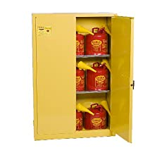 "Eagle 1947SC9 Combo Safety Cabinet for Flammable Liquids, 2 Door Manual Close, 45 gallon, 65""Height, 43""Width, 18""Depth, Steel, Yellow"